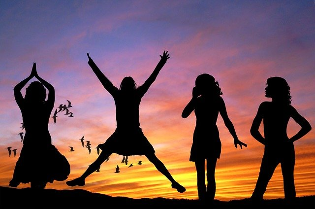 happy girls silhouette
