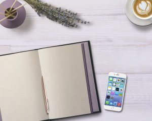 Notebook and iphone