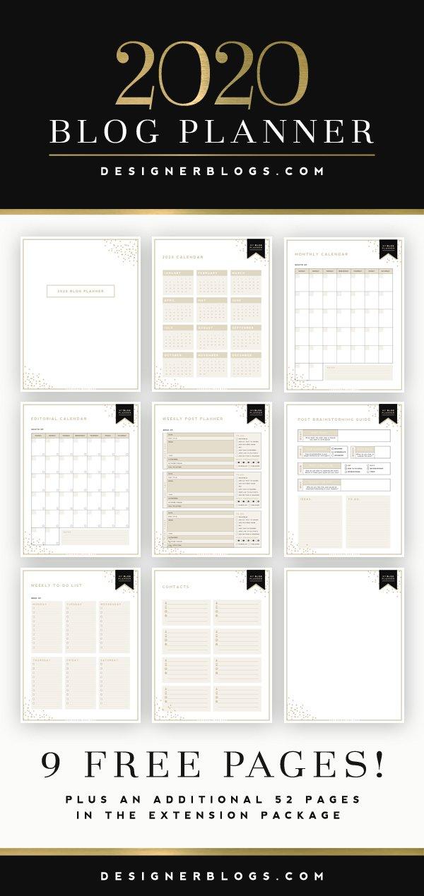 2020 blog planner
