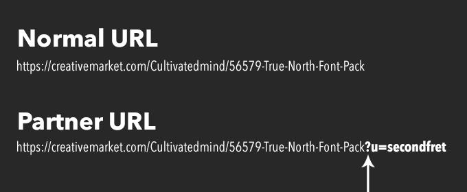 normal url partner url creative market