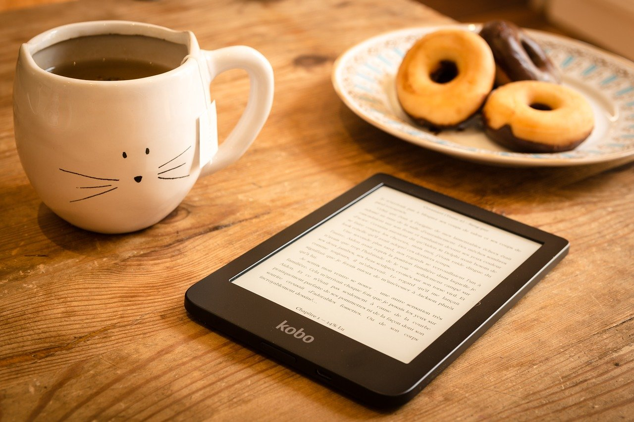 ebook, donuts, tea