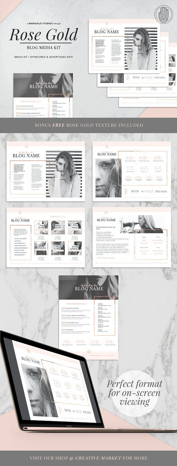 blogger rose gold media kit