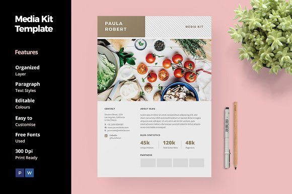 food blogger template creative market